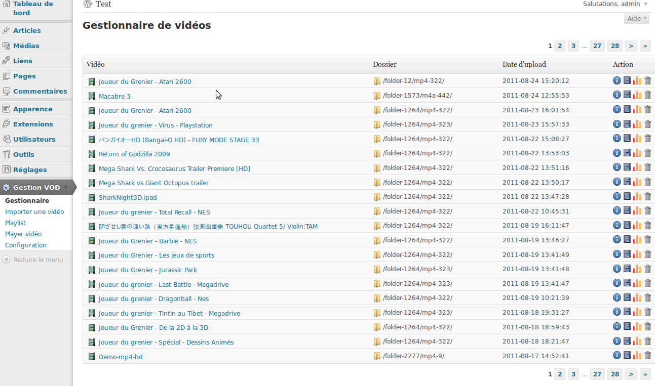 Screenshot montrant le menu d'administration permettant de gérer ses vidéos/players/playlist