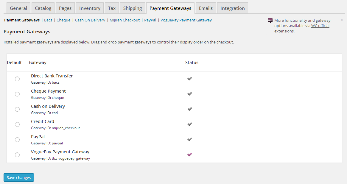 <p>WooCommerce payment gateway setting page</p>