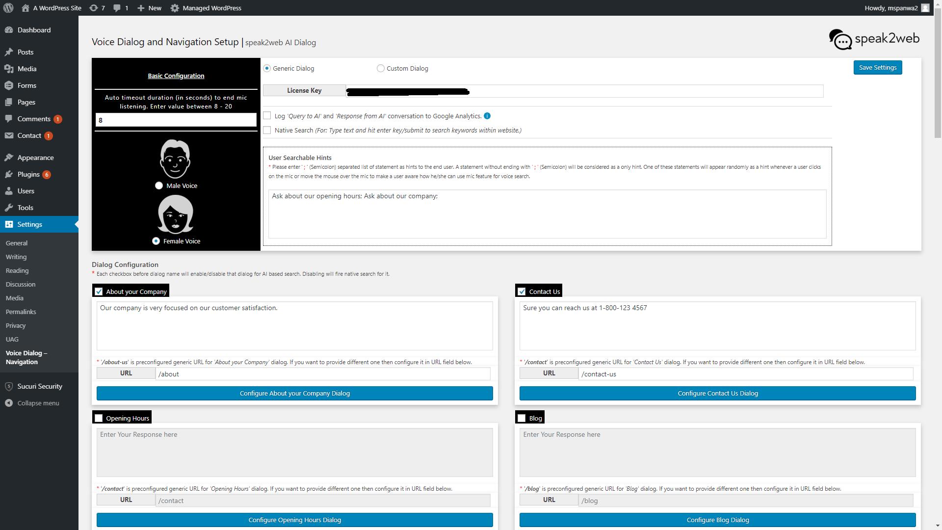 Dialog configuration screen