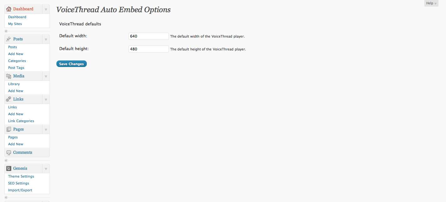 The Options page.