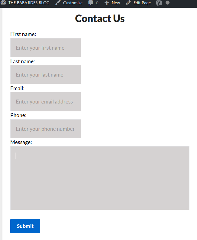 Screenshot shows the contact form & page created by Voila Contact Form.