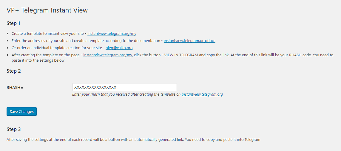 VP+ Telegram Instant View | WordPress.org