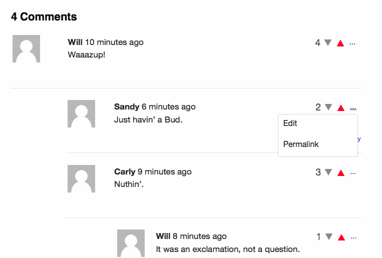 Comment editing.
