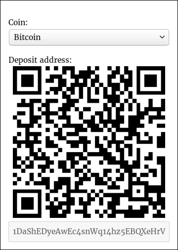<strong>Frontend - deposit</strong> - The <code>[wallets_deposit]</code> shortcode displays a UI element that lets your users know which address they can send coins to if they wish to deposit to their account.