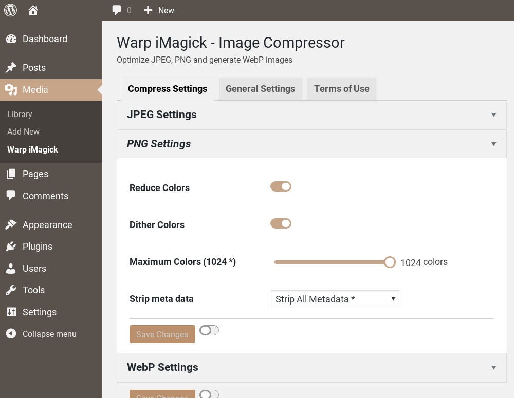 Warp iMagick: WordPress Image Compressor, Image Optimizer, Convert WebP
