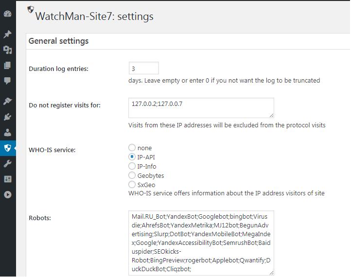 Screen basic settings of the plugin