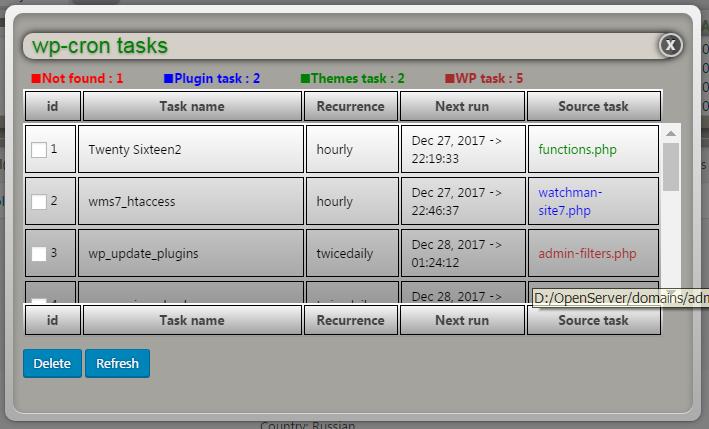 Viewer wp-cron tasks