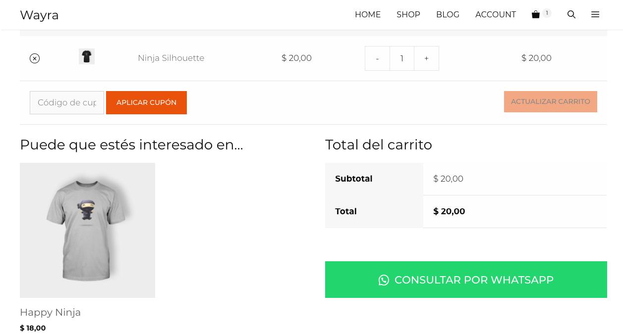 Cart button on Spanish configuration