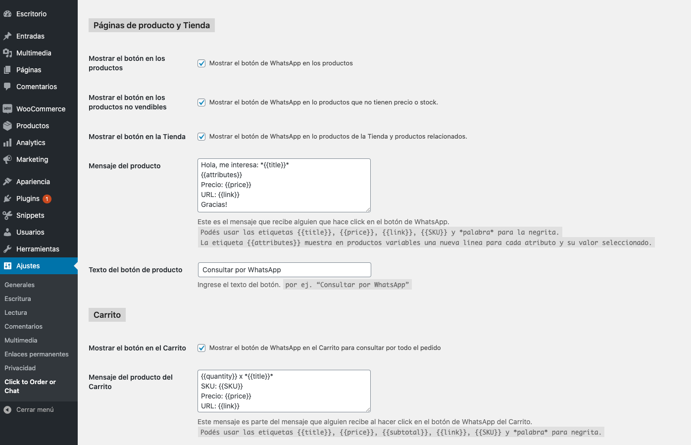 WooCommerce - cart options in Spanish