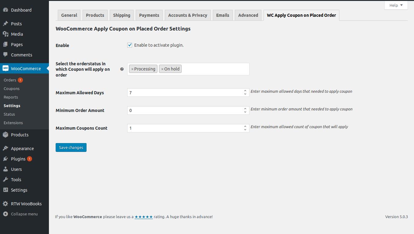 Admin settings of the plugin.