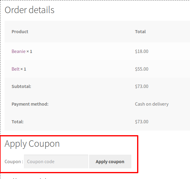 Coupon applies box for placed order.