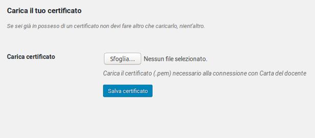 Carica il tuo certificato