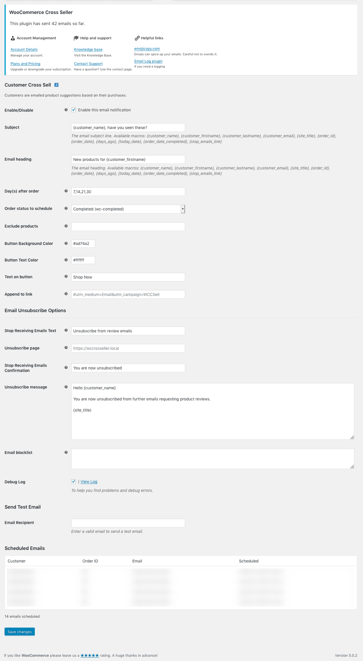 The settings page - many options to tweak the plugin as you wish