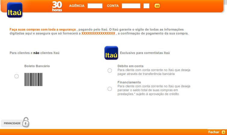 Exemplo dos meios de pagamentos sendo exibidos no Itaú Shopline.