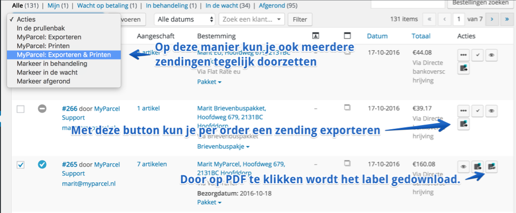 MyParcel BE actions on the order overview page