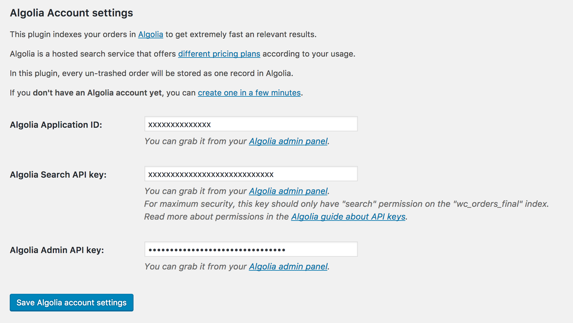 Algolia account settings.