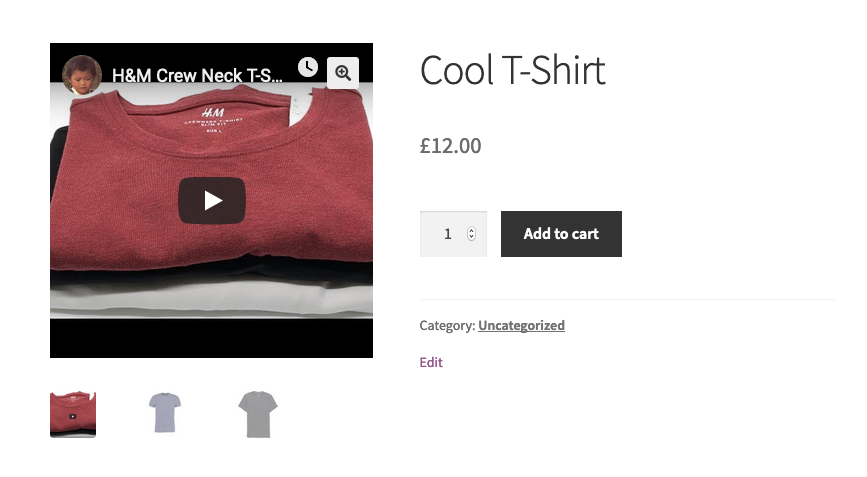 Product page showing the main product image replaced with an embedded YouTube video