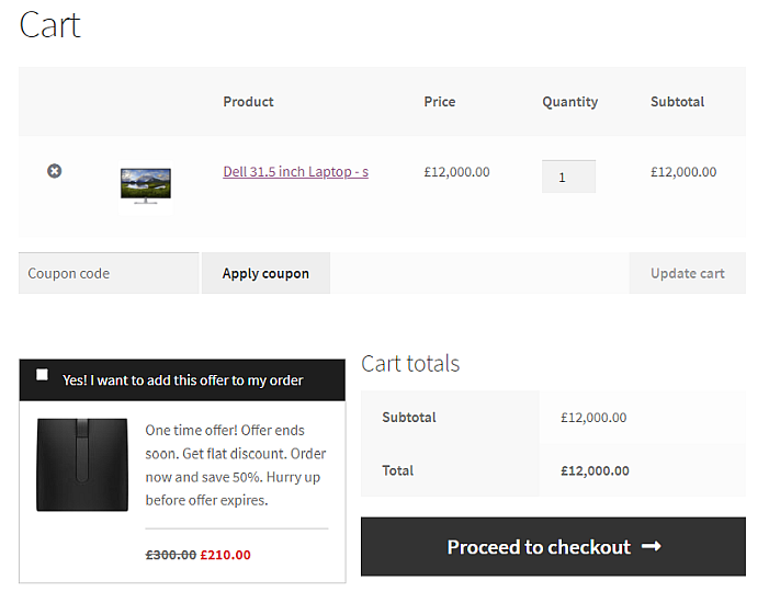 Up Sells and Cross Sell Order Bump for WooCommerce - Front Cart