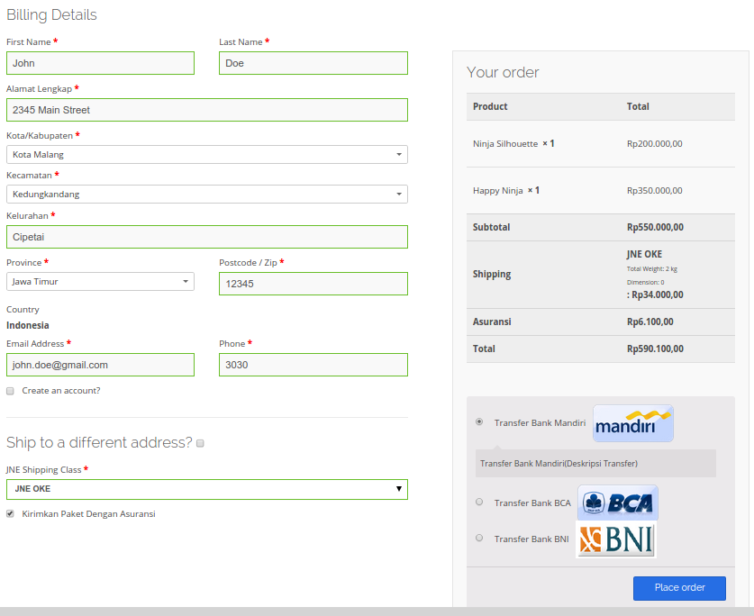 Configuration : This is what check out screen looks like when using our plugin
