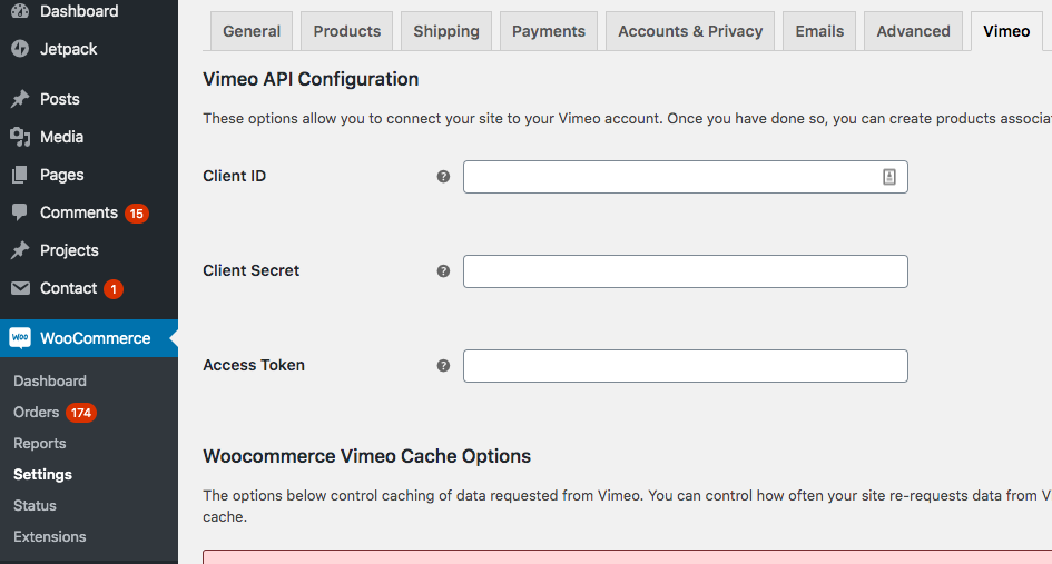 Configurations page at https://your-site.com/wp-admin/admin.php?page=wc-settings&tab=vimeo & config for Vimeo API