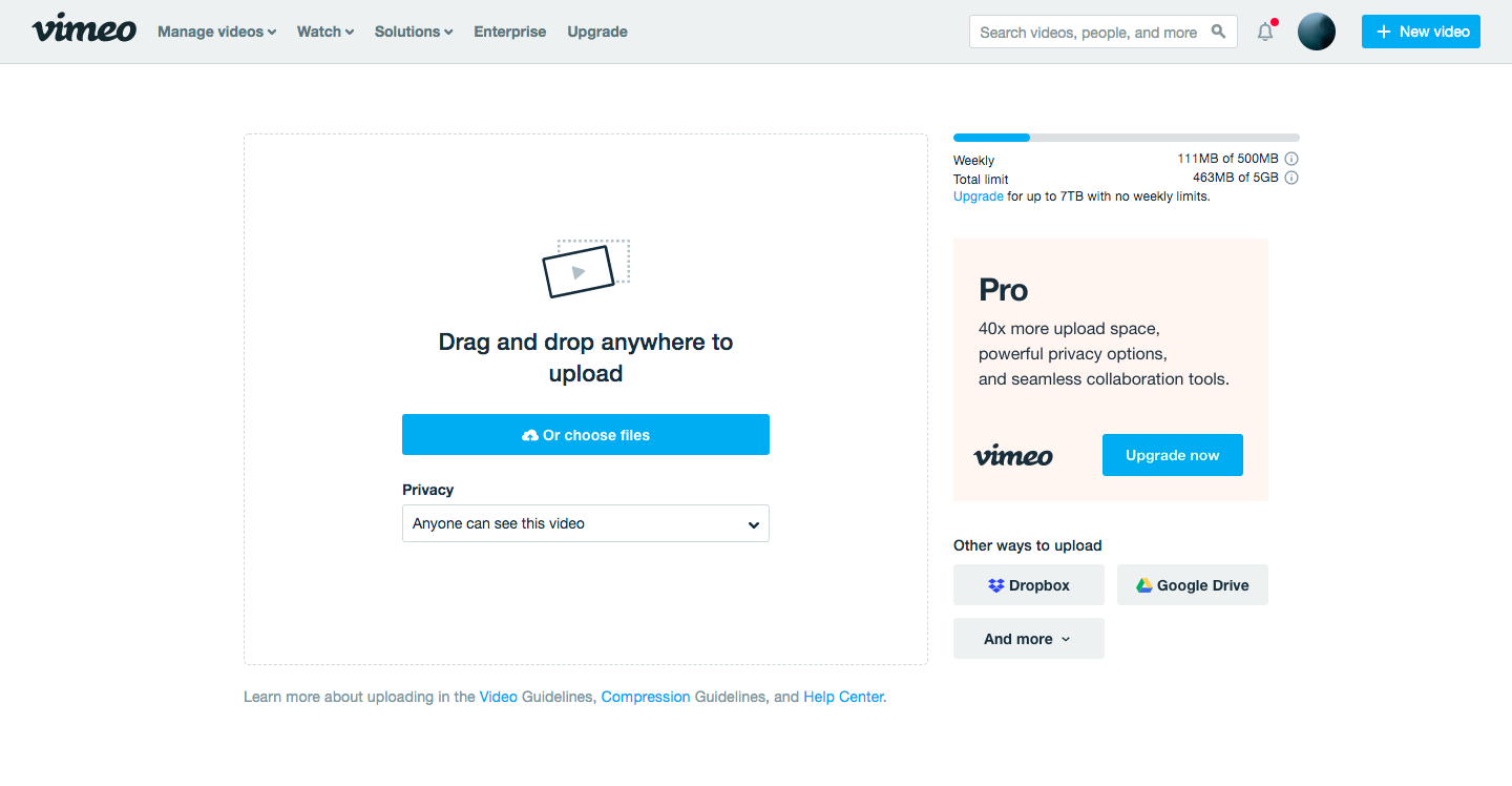 Upload a video to Vimeo