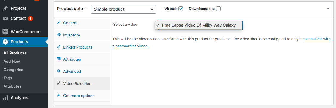 Select Vimeo video when adding/editing a WooCommerce Product