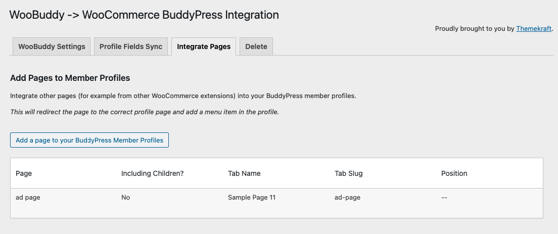 Add Pages to Member Profiles