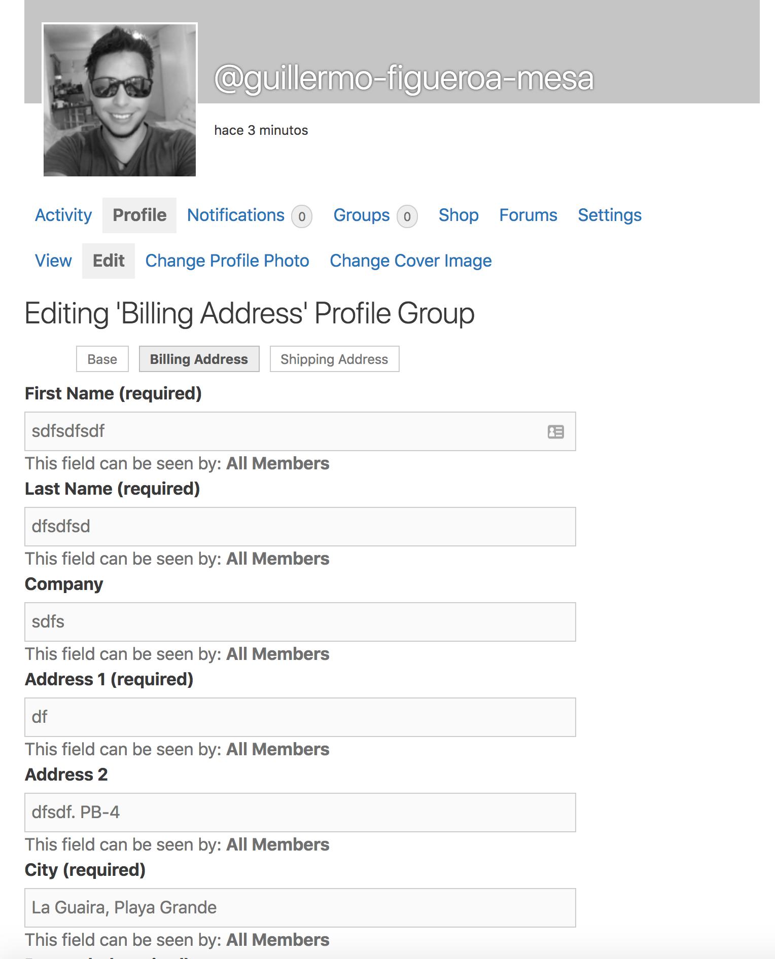 Profile Address Details