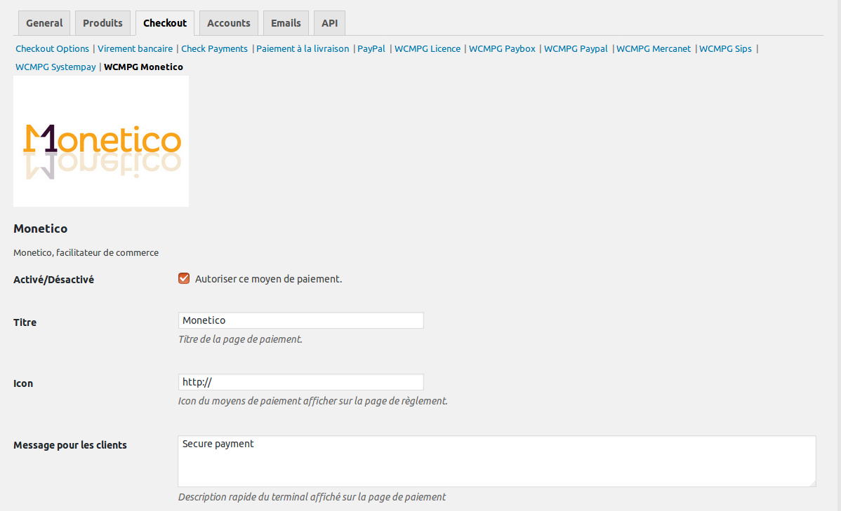 Monetico (Crédit mutuel CIC) payment gateway configuration, Pro version only