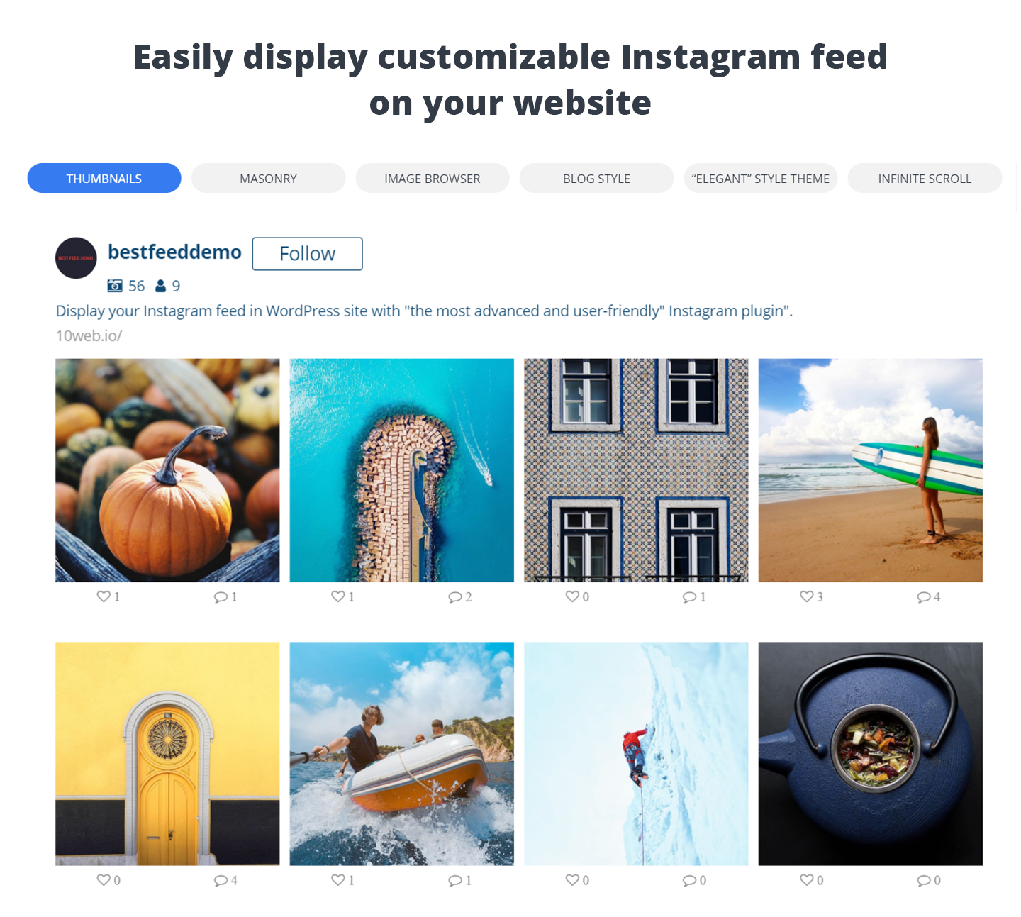 WordPress 10Web Social Photo Feed for Instagram - Thumbnail layout