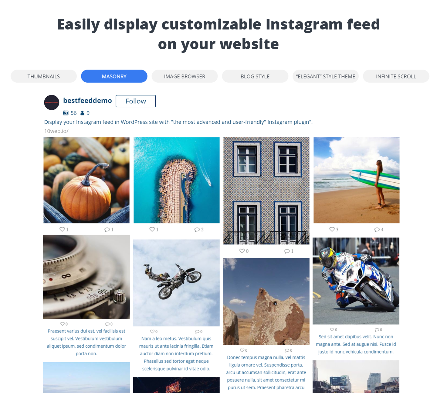 WordPress 10Web Instagram Feed - Image browser layout