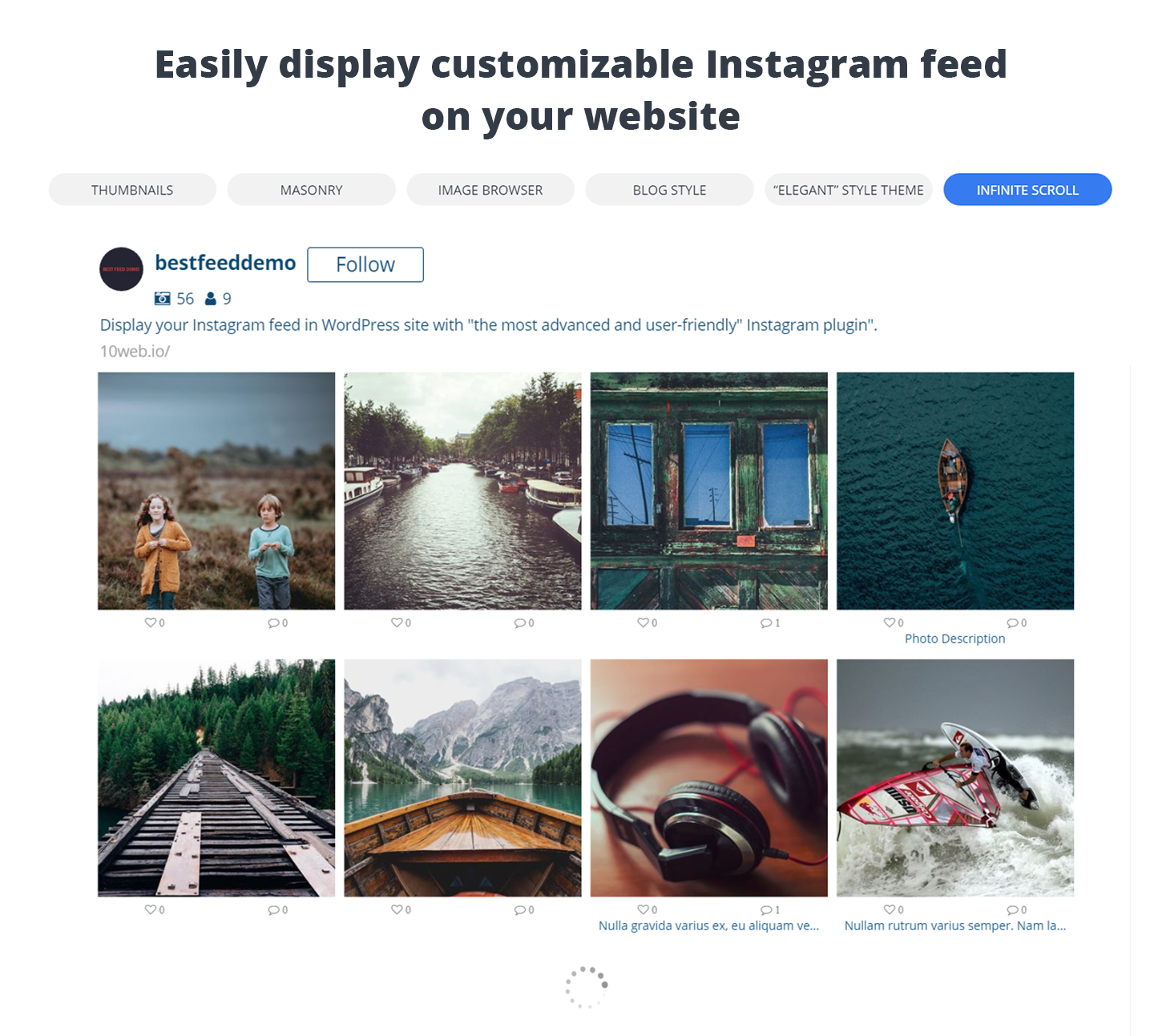 WordPress 10Web Social Photo Feed for Instagram - Edit Instagram Feed