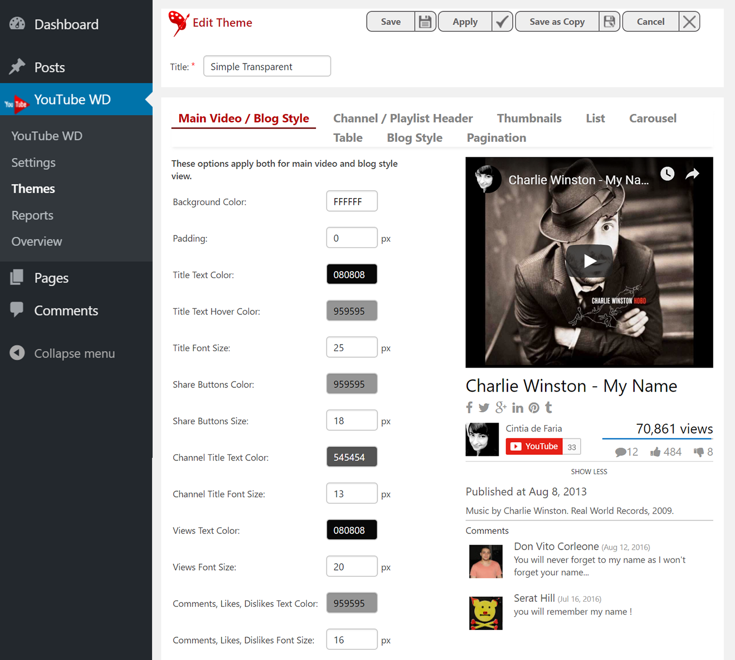 10Web Player for YouTube – Youtube Player and Gallery