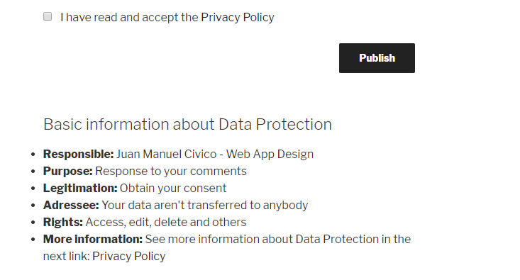 Checkbox with Privacy Policy Link and First Layer of Information