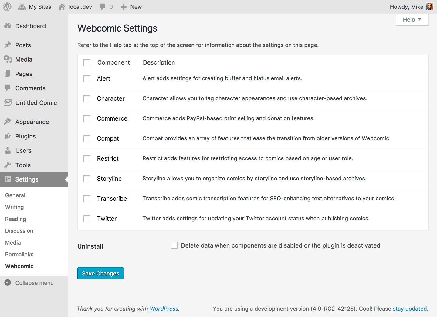 Enable or disable components on the Settings > Webcomic screen.
