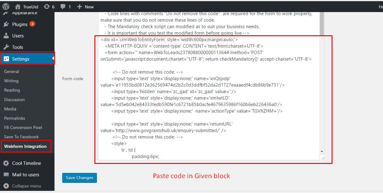 Webform plugin admin panel