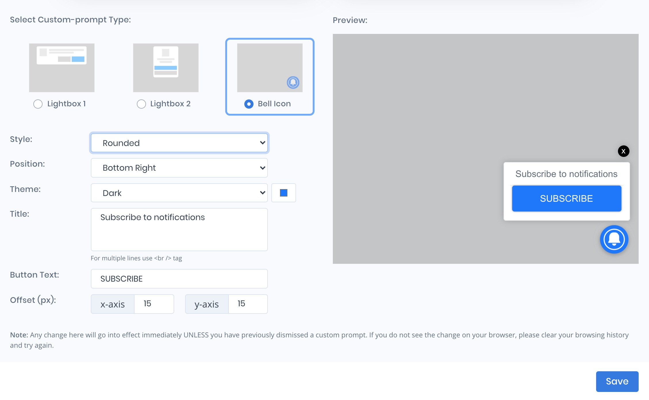 Enable elegant and highly customizable opt-in prompts for your site
