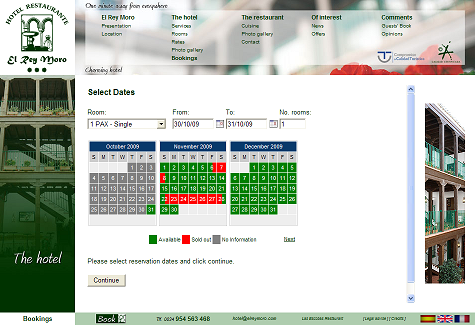 Example of Embedded Booking Calendar Using 3 MONTH CALENDAR View