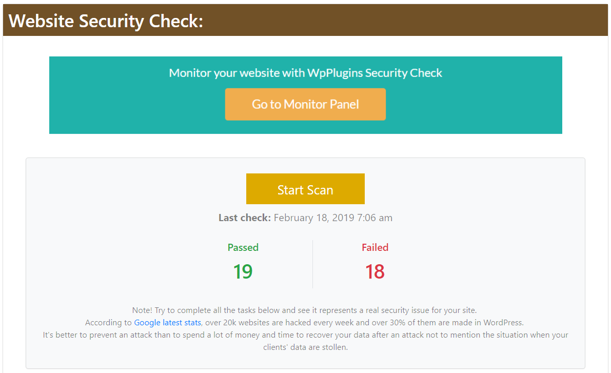 Choose to start the report on demand for Website Security Check