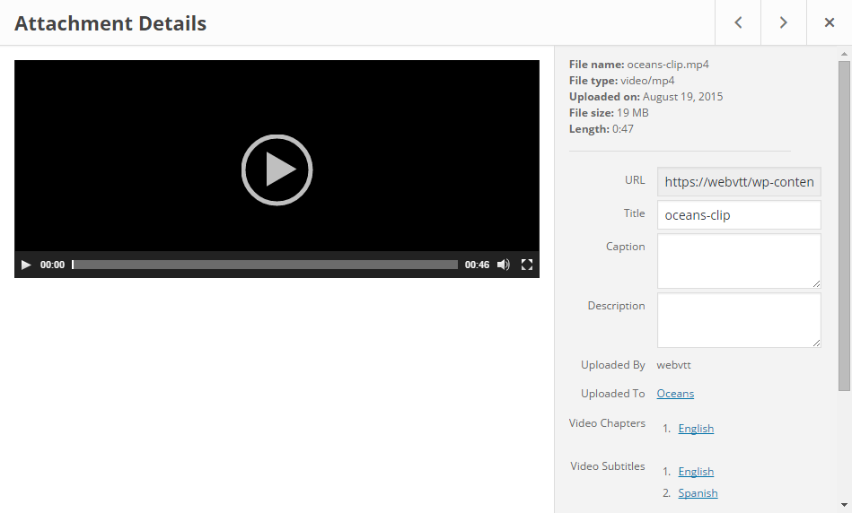Video and VTT attachments display reference links on media library and edit pages.