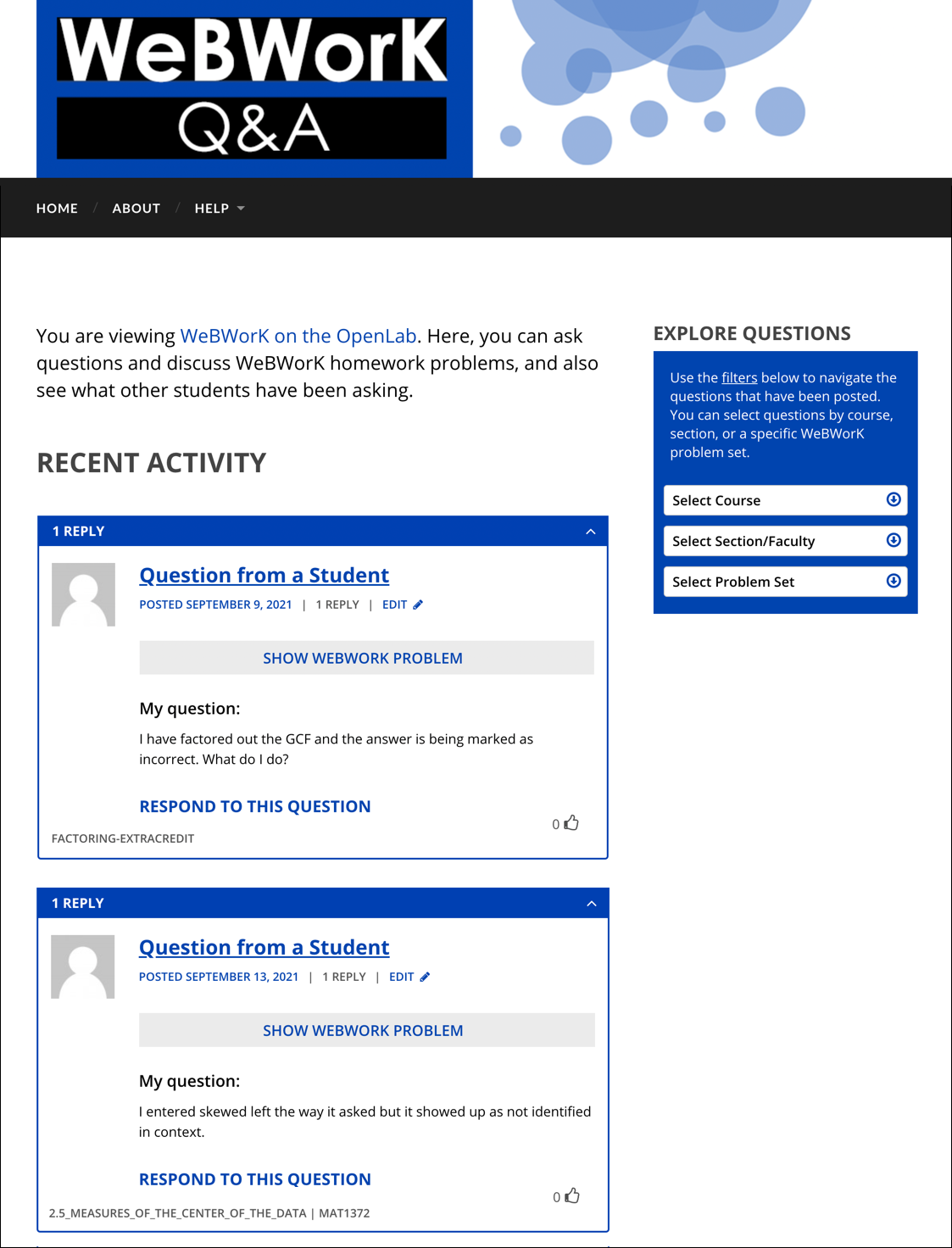 Homepage of a site running the WeBWorK Q&A plugin and <code>webwork-theme</code>.