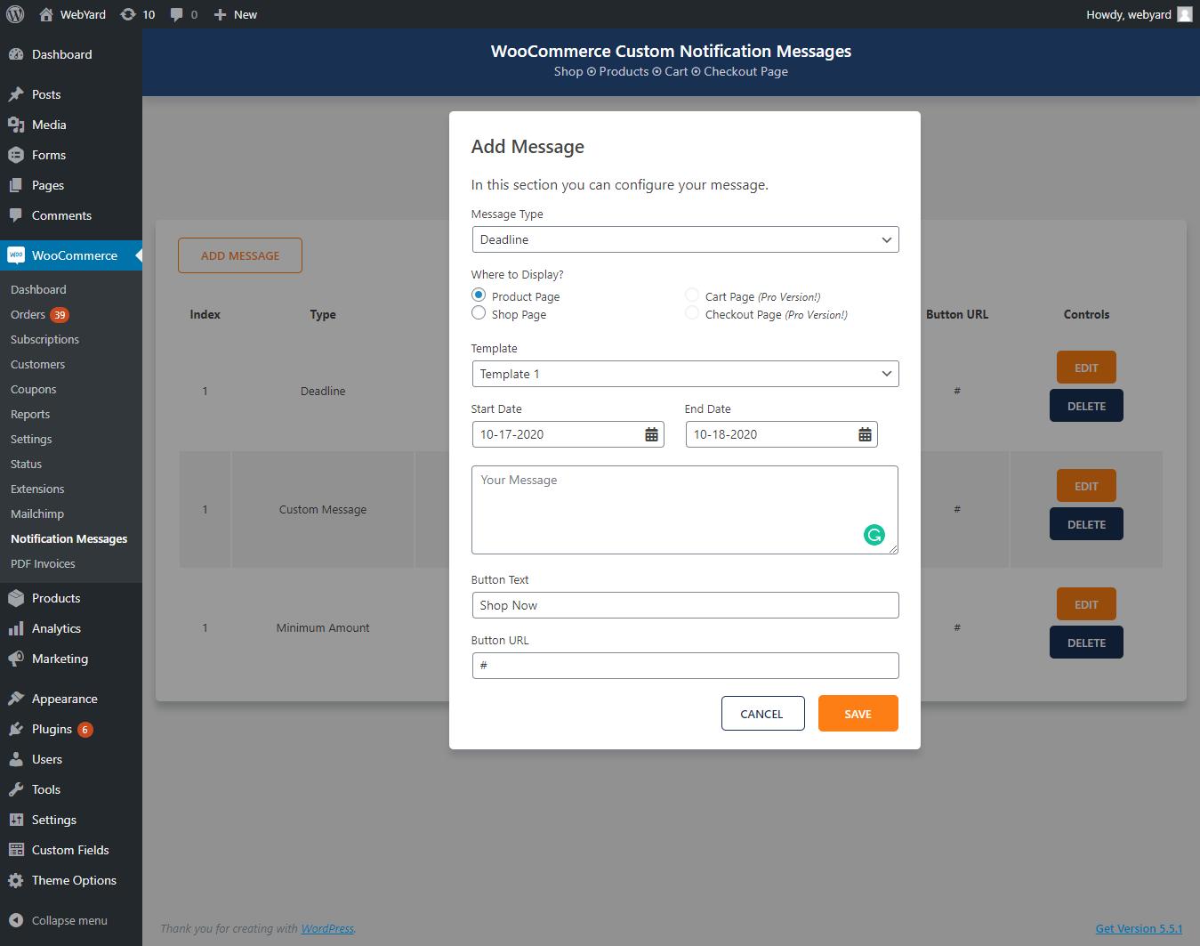 WebYard Custom Notification Display