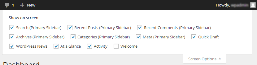 Sidebar widgets displayed by a screen option can be chosen.