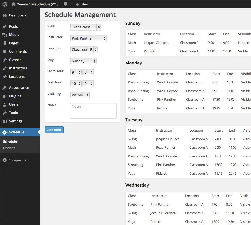 Weekly Class Schedule — WordPress Plugins