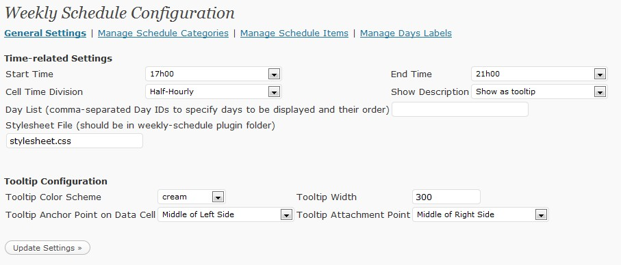 Weekly Schedule — Wordpress Plugins