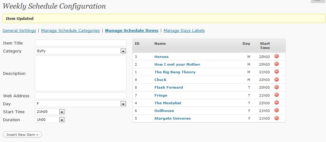 weekly schedule wordpress org