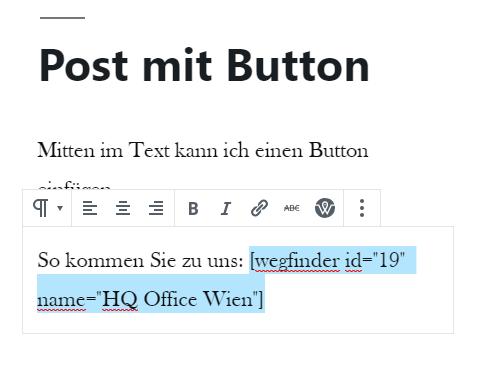 Button einfügen mit Shortcode