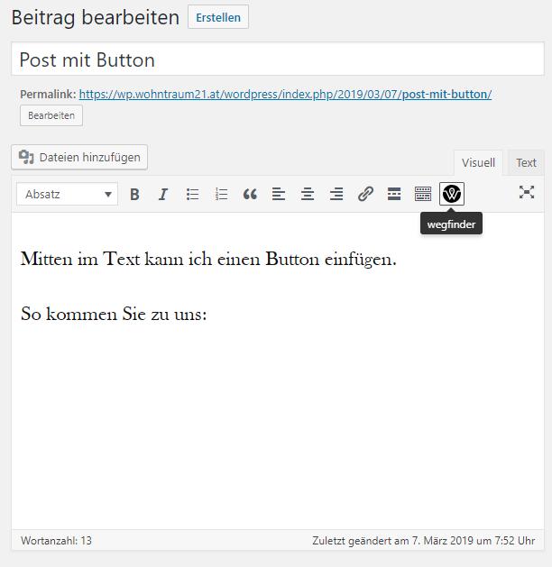 Button einfügen im Classic Editor (TinyMCE)