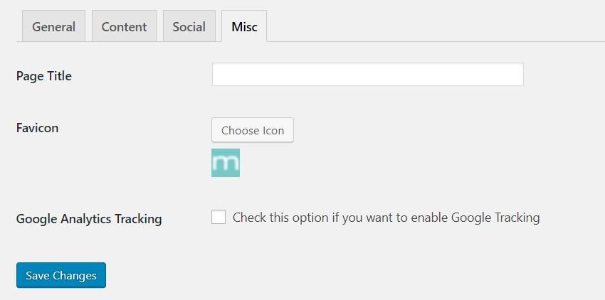 Backend: Miscelleneous settings