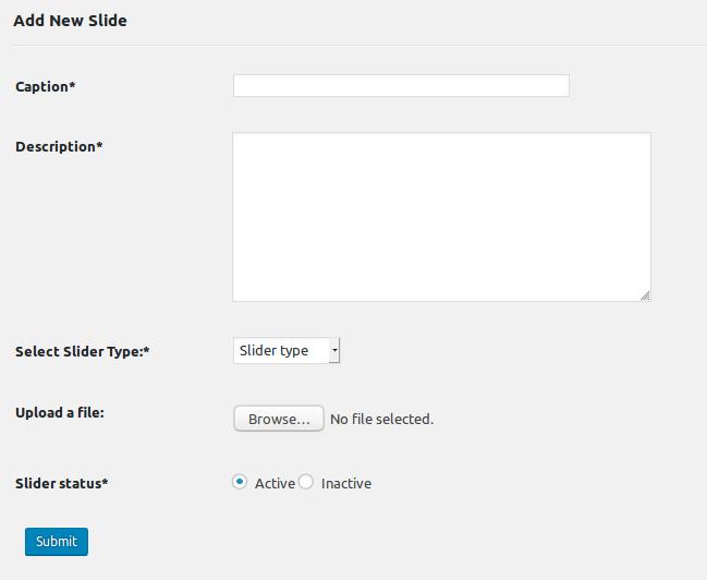 Add new slider form